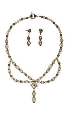 Jewelry Design - Single-Strand Necklace and Earring Set with Celestial Crystal® Beads, Antiqued Brass Link and Antiqued Gold-Plated Brass Bead Caps - Fire Mountain Gems and Beads