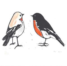 untitled two robins hand tinted linocut print by FleurRendell, $120.00 ❤