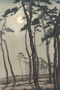 Yoshijiro Urushibara (1888-1953)  A woodblock print  in sumi and colour on paper depicting a full moon shining through pine.