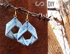 DIY Earrings and Homemade Jewelry Projects - Upcycled Denim Earrings - Easy Studs, Ideas with Beads, Dangle Earring Tutorials, Wire, Feather, Simple Boho, Handmade Earring Cuff, Hoops and Cute Ideas for Teens and Adults http://diyprojectsforteens.com/diy-earrings