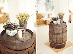 Wine barrel tables. (want for future deck/patio)