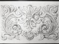 Barok Ornamental swag with acanthus Wood Carving Designs, Wood Carving Patterns, Baroque Frame, Stencils, Pattern Texture, Ornament Drawing, Grisaille, Scroll Design, Architectural Elements