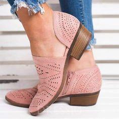 235a7ab3c6ab Block Heel Zipper Round Toe Plain Cheap Women  Flat Shoes