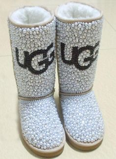 Uggs classic tall ladies boot fully blinged in pearls & crystals