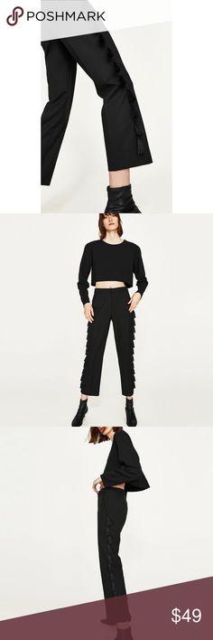 """{Zara} Tassel Fringe Trousers Trousers with side tassel fringe. Side pockets, front zip and hook & eye fastening. Approx 37"""" long. Location: B2 Zara Pants Trousers"""
