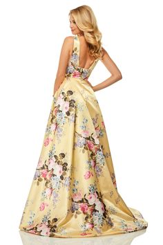 Sherri Hill - 52909 Floral Print Deep V-neck A-line Dress – Couture Candy Floral Print Gowns, Printed Gowns, Floral Prints, Sherri Hill Prom Dresses, Prom Dress Stores, Homecoming Dresses, Couture Dresses, Fashion Dresses, Designer Prom Dresses