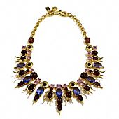 Tony Duquette collaboration with Coach- Mermaid Bib Stone Necklace