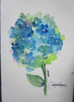 Blue Hydrangea Bloom Watercolor card. $4.00, via Etsy.