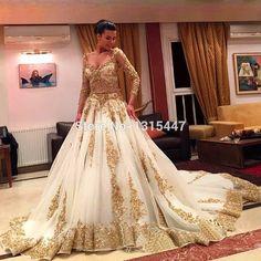 Luxo De manga comprida ouro branco vestidos De casamento com Long Train 2015 Vestido De Novia Lace frisada pescoço V Sexy vestidos De noiva vestidos em Vestidos de noiva de Casamentos e Eventos no AliExpress.com | Alibaba Group
