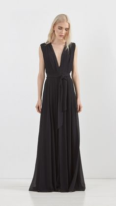 L'Agence Deep V Crepe Maxi Dress in Black | The Dreslyn