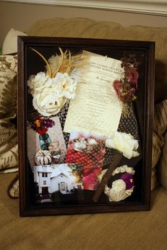 I'm going to make a shadowbox from our wedding day like this soon, then hang it in our bedroom :)