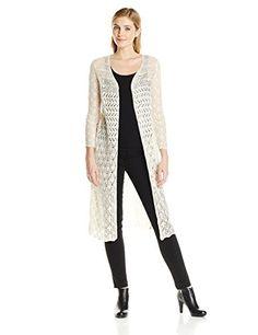 Ivory maxi duster long sleeve crochet open cardigan knit boho ...