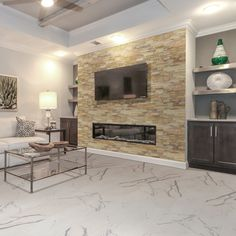 Latest Snap Shots splitface Stone Fireplace Suggestions MSI Sedona Fossil x Natural Stone Splitface Tile in Beige Fireplace Feature Wall, Fireplace Built Ins, Fireplace Remodel, Fireplace Wall, Fireplace Surrounds, Fireplace Design, Fireplace Ideas, Basement Fireplace, Linear Fireplace