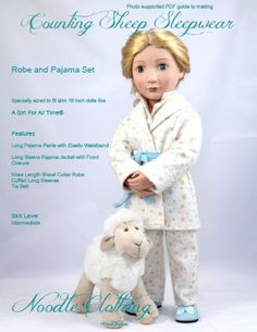 A Girl For All Time® Doll Clothes Pattern, Counting Sheep Pajama and Robe PDF pattern for 16 inch dolls