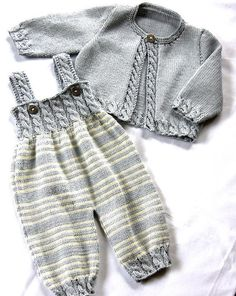 Baby Overalls with detailed cabled bodice and matching sweater - Zopfstrampler m. - - Baby Overalls with detailed cabled bodice and matching sweater - Zopfstrampler mit passendem Jäckchen Baby Overalls with detailed cabled bodice and ma. Love Knitting, Sweater Knitting Patterns, Knitting For Kids, Knit Patterns, Dress Patterns, Baby Overalls, Baby Jumpsuit, Baby Dress, Baby Kimono