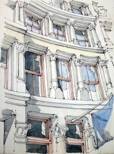 Drawing of ornate multistoried building with rows of windows