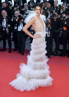Kendall Jenner in sheer Schiaparelli Haute Couture gown at the Girls of the Sun during the 2018 Cannes Film Festival on Saturday (May in Cannes, France. Kendall Jenner, Tulle Dress, Chiffon Dress, Kendall White, Manequin, Sheer Gown, Palais Des Festivals, Red Carpet Dresses, Cannes Film Festival
