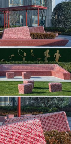 This part has sculptural seating that's covered in red and pink tiles which complement the color of the pergola. #PublicSeating #StreetFurniture