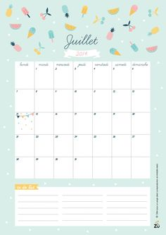 Hello July - Free Printable July Calendar! | Art And Chic