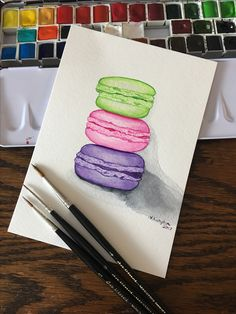 Watercolor macarons completed with Sennelier aquarelle and da Vinci artist brushes