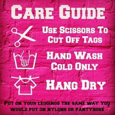Legging Care Guide http://leggingarmy.com/#KimzLeggings