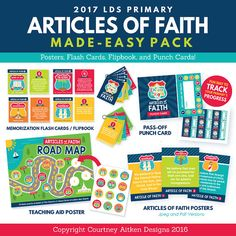Use this adorable Articles of Faith pack for teaching, memorization, family home evening, or a relief society enrichment night! This bundle goes perfectly along with the 2017 LDS Primary Theme printables and includes darling posters, flash cards/ flip books, and a pass-off punch card! These easy-to-use digital files include all 13 Articles of Faith! Simply press print!   This is an INSTANT DOWNLOAD. A printable PDF file will be available to download instantly through your Etsy purchase…