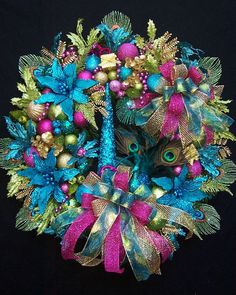 lg enchanted peacock christmas holiday wreath by uptownoriginals