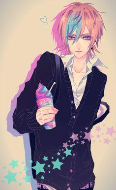 anime heterochromia / odd eyes pink purple