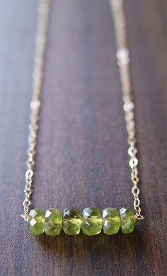 Green Garnet Nugget Necklace 14K Gold Filled
