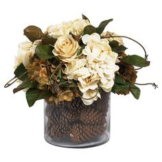Bring rustic style to your tablescape or mantel with this lovely arrangement, brimming with faux hydrangeas and pine cones.  Product...