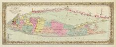 Long Island Travellers vintage map, New York NY, 1857. Different color as the boundaries of New Jersey, Staten Island, New York City & State
