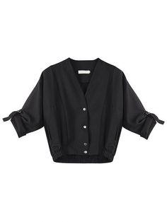 Casual Women Long Sleeve Solid Windbreaker Short Jacket