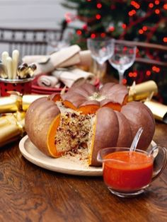 Roast Stuffed Pumpkin with Gingery Tomato Sauce: There is something so magnificent about a whole pumpkin stuffed with jewelled rice, that it doesn't really need too many side dishes to detract: its starchy interior means you can forgo potatoes or the orzo Thanksgiving Recipes, Fall Recipes, Holiday Recipes, Christmas Recipes, Tomato Sauce Recipe, Sauce Recipes, Cooking Recipes, Vegetarian Recipes, Vegan Christmas