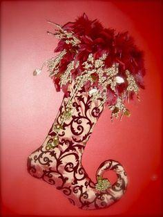Angie's Unique Creations - Elegant and UNIQUE Christmas stockings Unique Christmas Stockings, Christmas Stocking Pattern, Xmas Stockings, Whimsical Christmas, Christmas Sewing, Elegant Christmas, Victorian Christmas, Christmas Holidays, Nordic Christmas