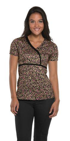 An asymmetrical mock wrap top in Wild Child Khaki. #loveheartsoulscrubs