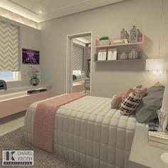 "1,962 curtidas, 34 comentários - DANIEL KROTH Arquitetura (@danielkroth) no Instagram: ""Quarto de menina em tons de rosa e cinza #DanielKrothArquitetura #DKarquitetura #projeto…"" Heim, Teen Girl Bedrooms, Teen Bedroom, Bedroom Inspo, Home Decor Bedroom, Bedroom Bed, Bedroom Ideas, Thalia, Bedroom Images"
