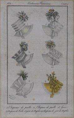 1814 Costume Parisien. 1. Hats of straw. 2. Hat of straw and gauze. 3. Hat of tulle and silk. 4. Hat of silk.