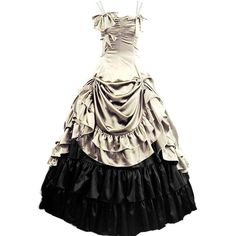 Partiss Womens Gothic Victorian Ruffles Prom Lolita Dress ($84) ❤ liked on Polyvore featuring dresses, gothic clothing dresses, frilly dress, victorian dress, flutter dress and flounce dress