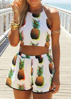 Fashion Two Piece Pineapple Print Crop Top And Shorts