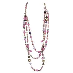 1stdibs - CHANEL Vintage  Long Necklace pink pearls stones gold  1stdibs.com