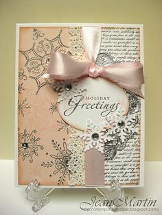 Pastel Holiday Greetings Card...with snowflakes & lace trim. 2012 ideas
