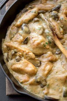 This Creamy Chicken Stroganoff Is Perfect Comfort Food — Delicious Links - 1 ½ pounds Iron Skillet Recipes, Cast Iron Recipes, Turkey Recipes, Chicken Recipes, Dinner Recipes, Dinner Ideas, One Pot Meals, Easy Meals, Chicken Stroganoff