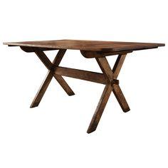 Sawbuck Table  Ohio, USA  19th c  delicately designed 19th c sawbuck table - two board walnut top