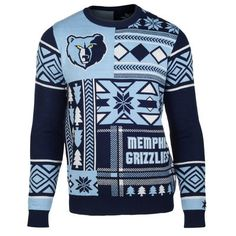 Klew Navy Memphis Grizzlies Patches Ugly Sweater