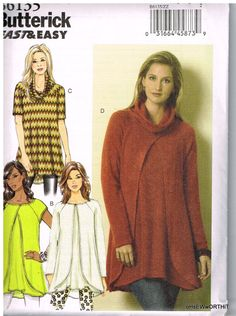 Butterick B6135,  Sewing Pattern, Misses' Tunic,  Lrg, Xlg, XXL, Plus Size by OhSewWorthIt on Etsy