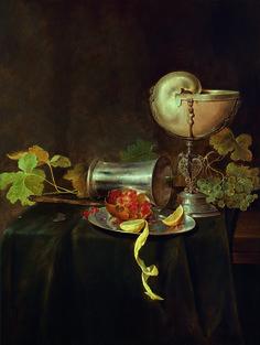 ✨  Jan Davidsz. de Heem, (Utrecht 1606–1683/84 Antwerpen), Prunkstillleben mit einem Nautiluspokal, einem gestürzten Silberbecher und einem Silberteller mit aufgeschnittenem Granatapfel und geschälter Zitrone, oben rechts undeutliche Reste der Signatur und Datierung: . eem. f. A… 32, Öl auf Holz, 75,5 x 57 cm