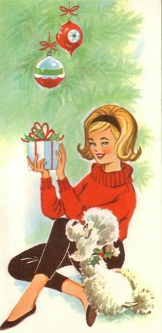 Mid-60s Teen Girl and Poodle Christmas card