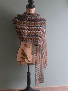 Filcolana -Bark sjaal gehaakt via you tube Wendy Rademaker met 3 bollen fenna