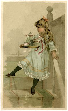 Lovely Vintage Tea Set Girl Image! - The Graphics Fairy