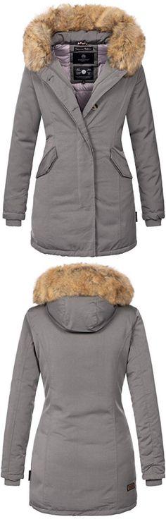 Marikoo Damen Winter Jacke Herbst Parka Kurz Mantel warm gefüttert 7 Farben Army XS XXL Grinsekatze